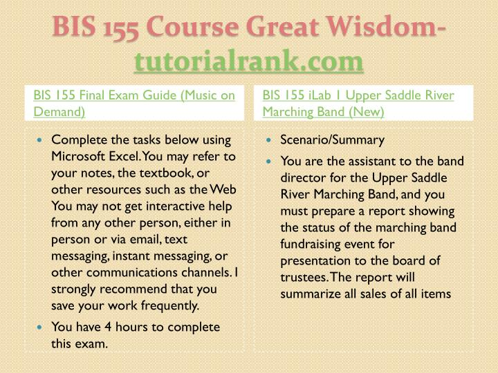Bis 155 course great wisdom tutorialrank com2