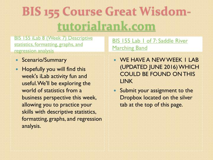 BIS 155 iLab 8 (Week 7) Descriptive statistics, formatting, graphs, and regression analysis