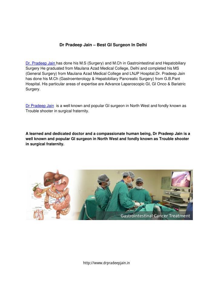 Dr Pradeep Jain – Best GI Surgeon In Delhi