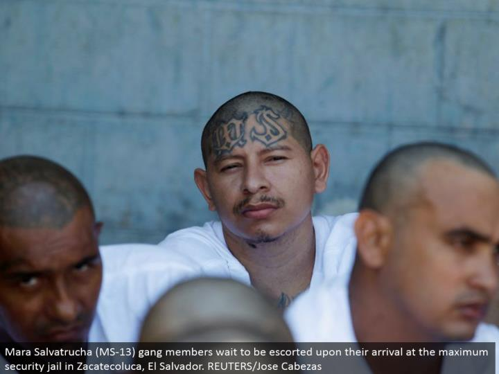 Mara Salvatrucha (MS-13) posse individuals hold up to be escorted upon their landing in the most extreme security imprison in Zacatecoluca, El Salvador. REUTERS/Jose Cabezas