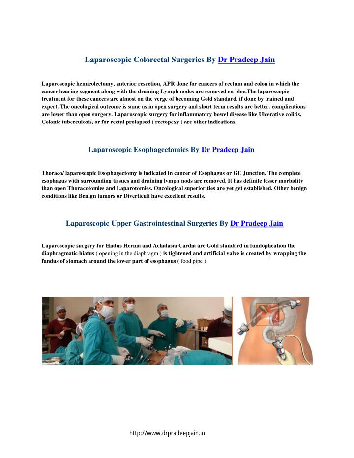 Laparoscopic Colorectal Surgeries By Dr Pradeep Jain