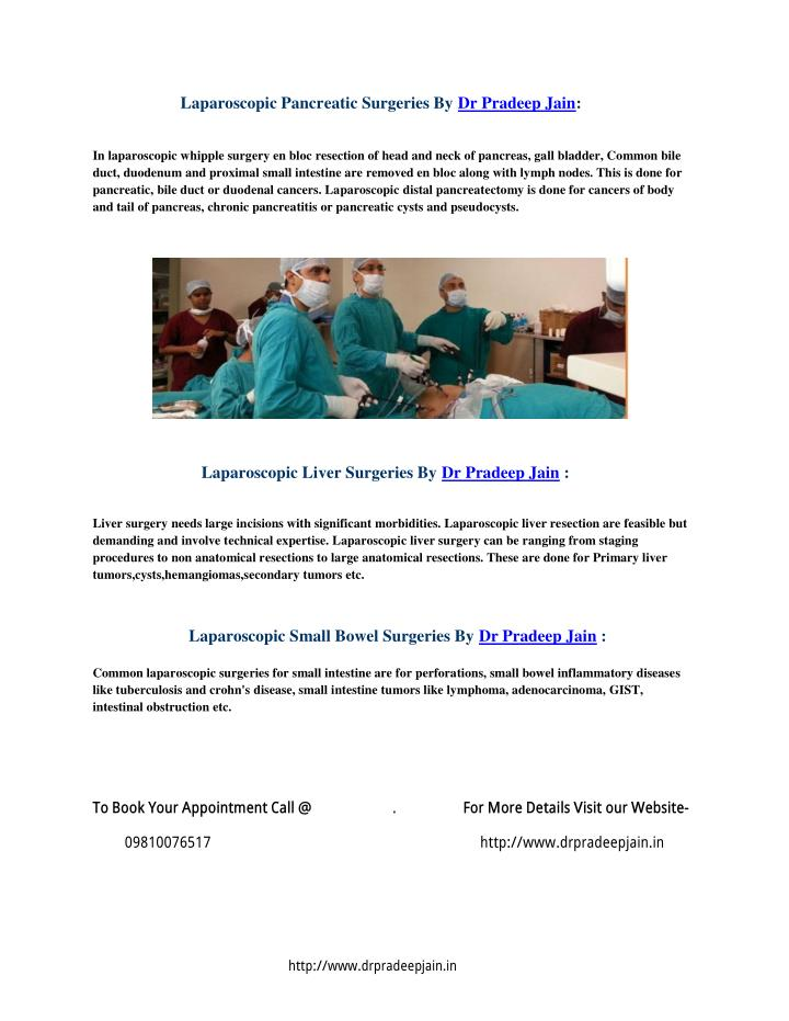 Laparoscopic Pancreatic Surgeries By Dr Pradeep Jain: