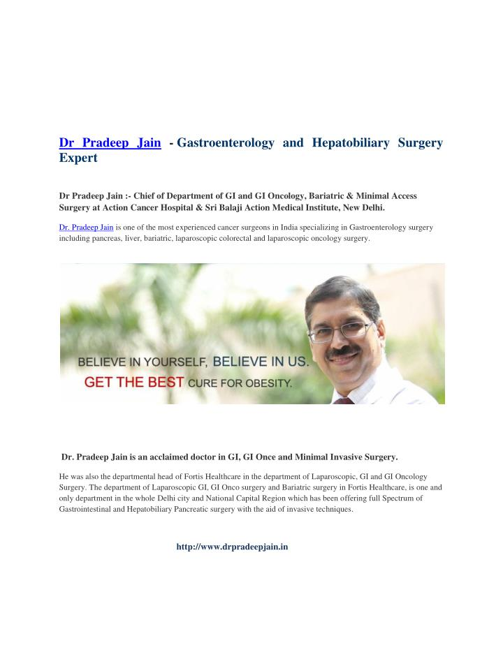 Dr Pradeep Jain - Gastroenterology and Hepatobiliary Surgery