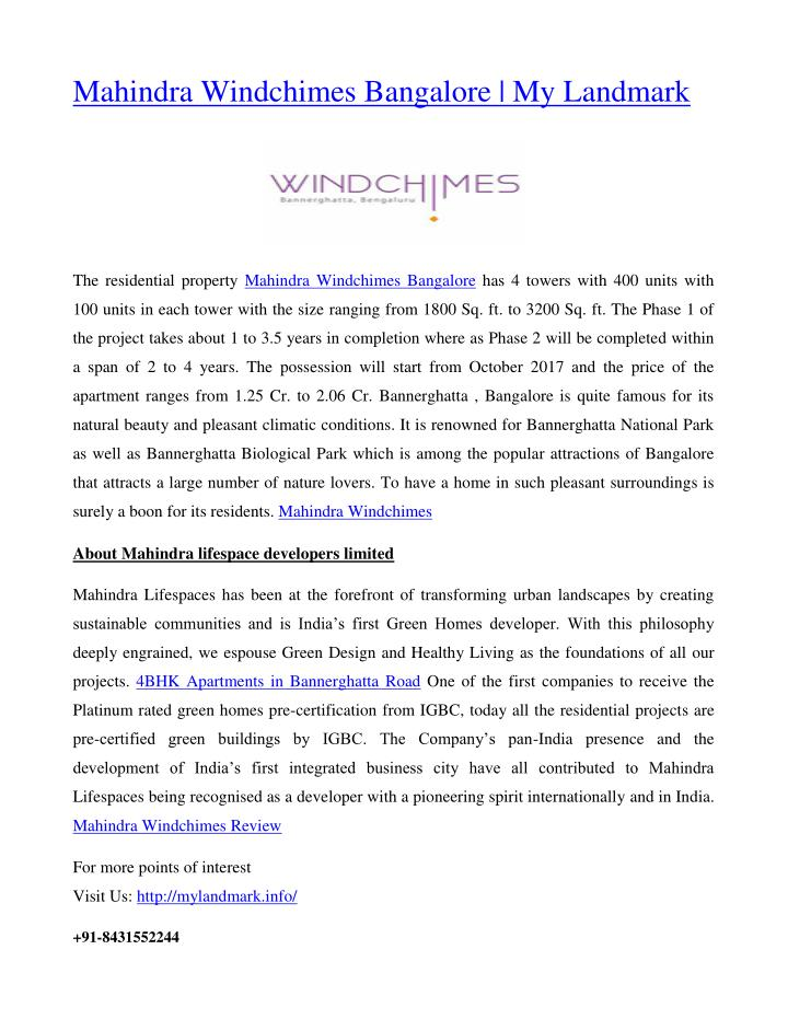 Mahindra Windchimes Bangalore | My Landmark