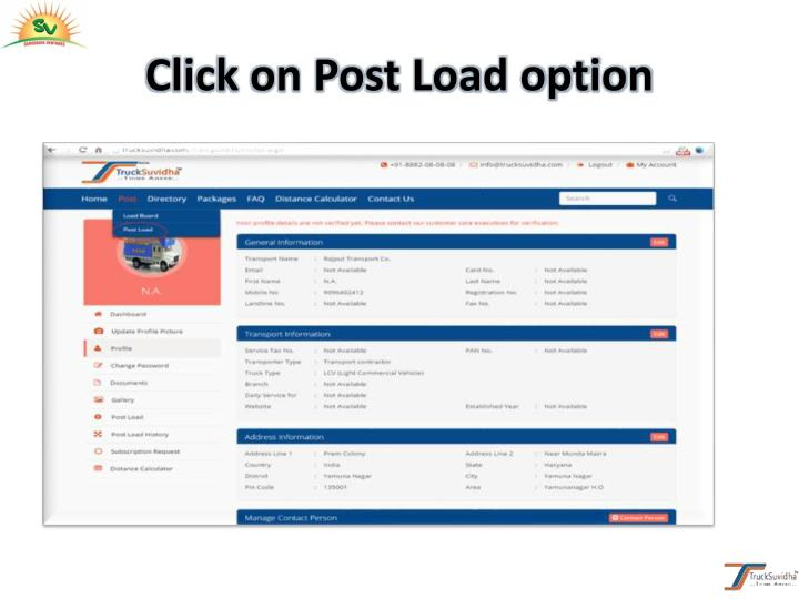 Click on Post Load option