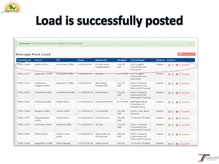 Load is successfully posted
