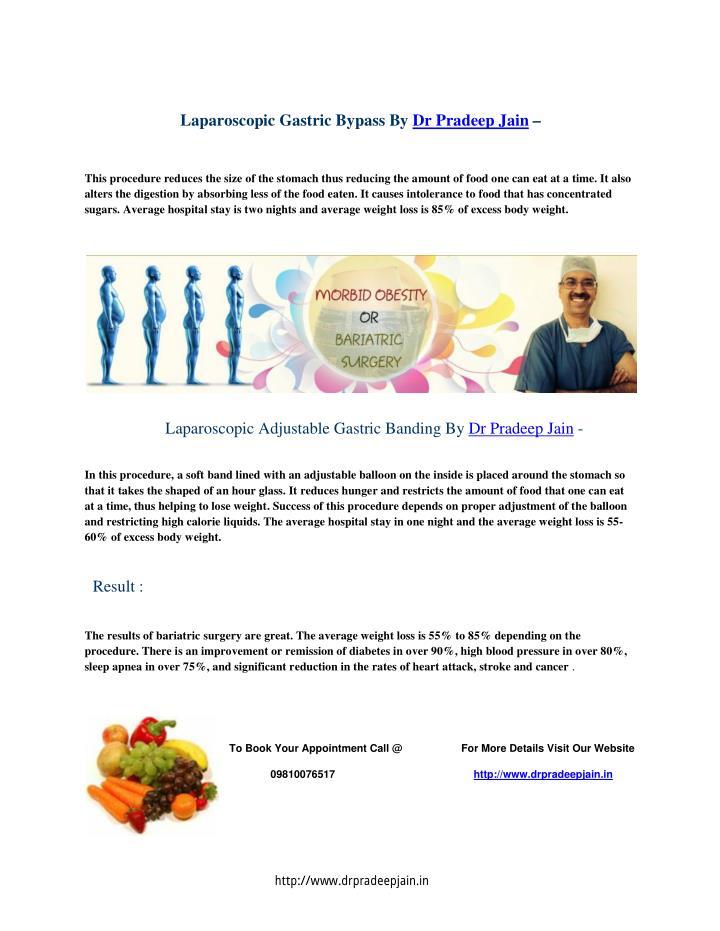 Laparoscopic Gastric Bypass By Dr Pradeep Jain –
