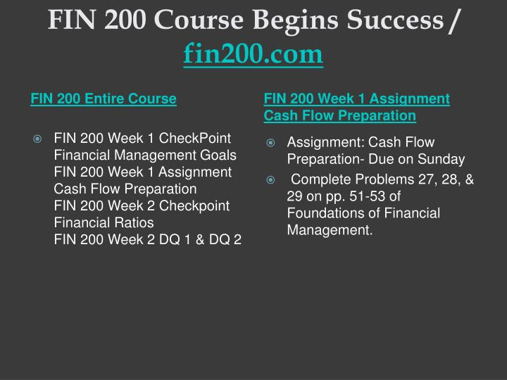 Fin 200 course begins success fin200 com1