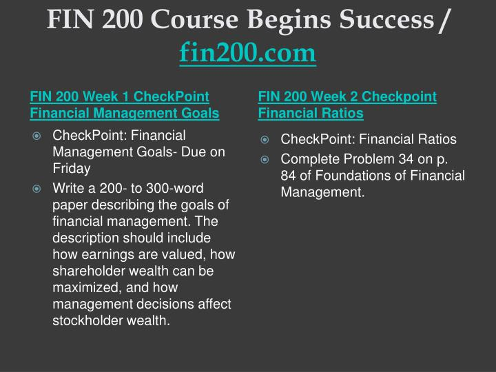 Fin 200 course begins success fin200 com2