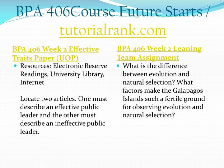 Bpa 406course future starts tutorialrank com2
