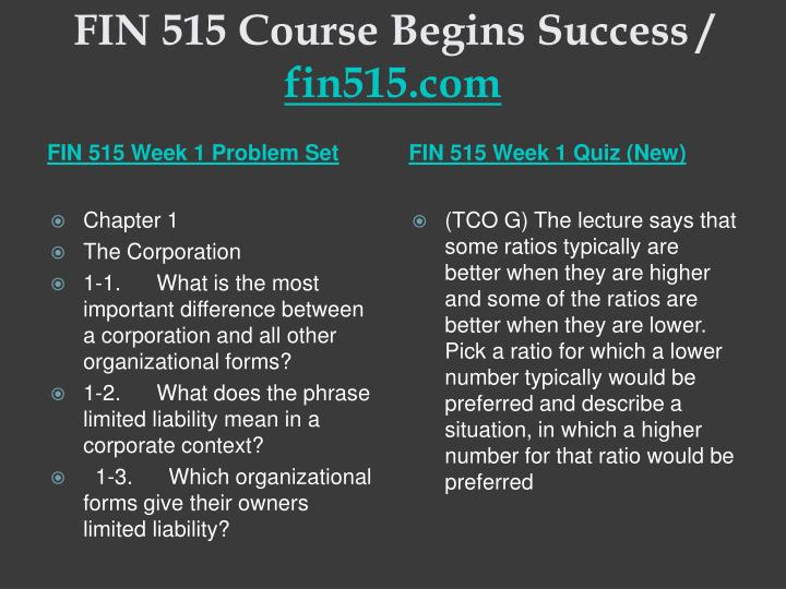 FIN 515 Course