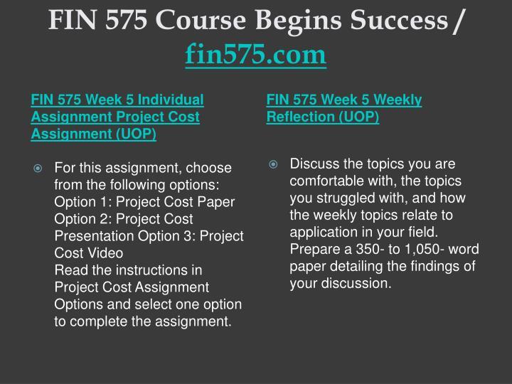 FIN 575 Course