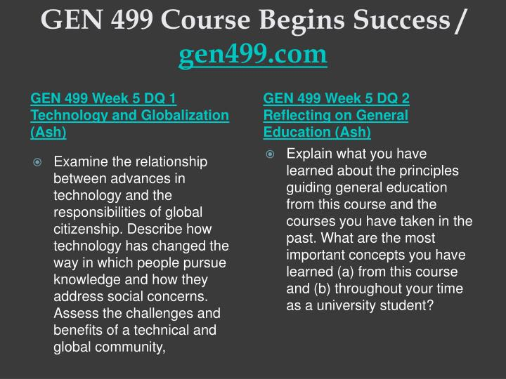 GEN 499 Course Begins Success /