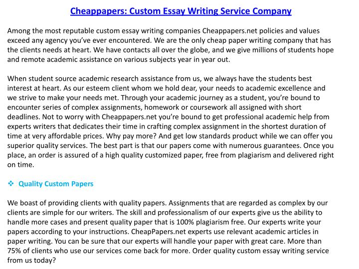Cheappapers: Custom Essay Writing Service Company