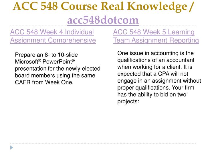 ACC 548 Course Real Knowledge /