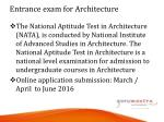 entrance exam for architecture
