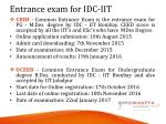 entrance exam for idc iit