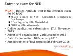 entrance exam for nid
