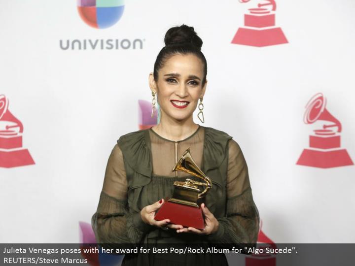 """Julieta Venegas postures with her honor for Best Pop/Rock Album for """"Algo Sucede"""". REUTERS/Steve Marcus"""