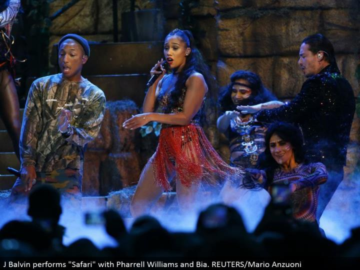 "J Balvin performs ""Safari"" with Pharrell Williams and Bia. REUTERS/Mario Anzuoni"