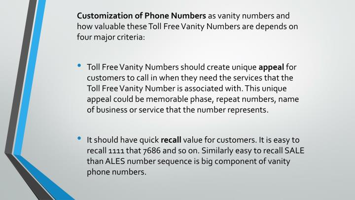 Customization of Phone Numbers