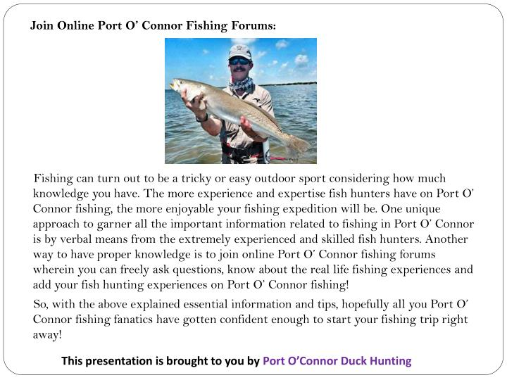 Join Online Port O' Connor Fishing Forums: