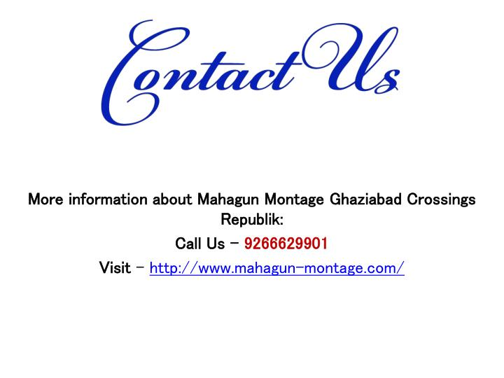 More information about Mahagun Montage Ghaziabad Crossings