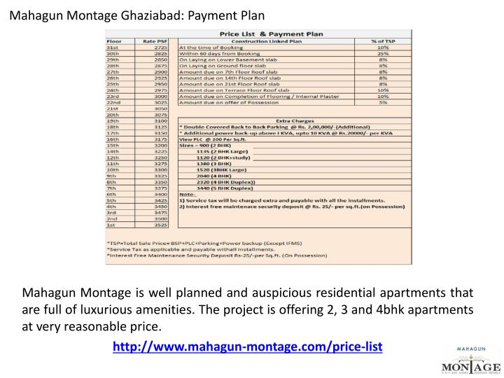 Mahagun Montage Ghaziabad: Payment Plan