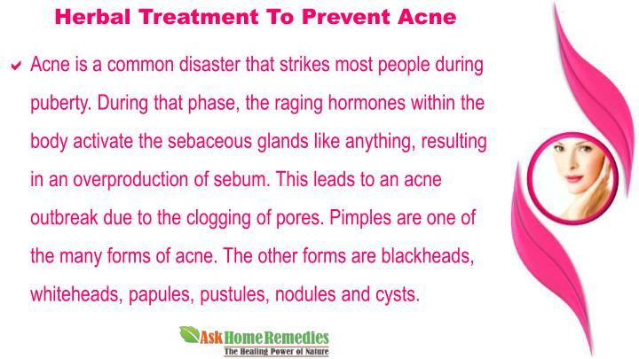 Herbal Treatment To Prevent Acne