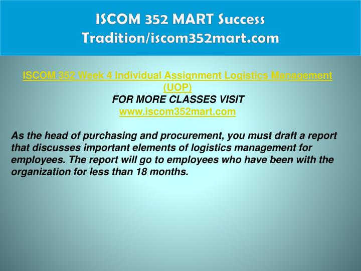 ISCOM 352 MART Success Tradition/iscom352mart.com