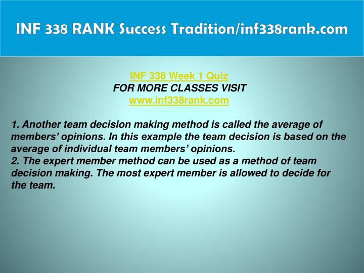 INF 338 RANK Success Tradition/inf338rank.com