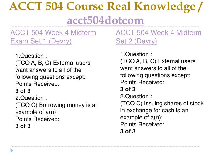ACCT 504 Course Real Knowledge /