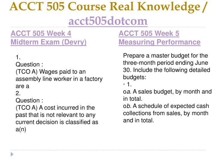 ACCT 505 Course Real Knowledge /