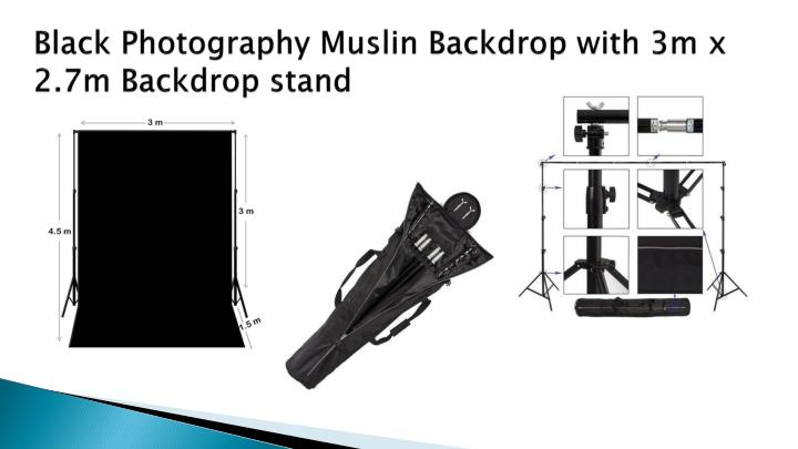 Black Photography Muslin Backdrop with 3m x 2.7m Backdrop stand