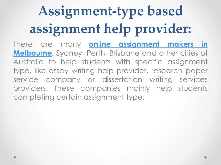 Assignment-type based assignment help provider: