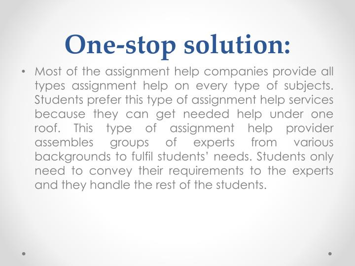 One-stop solution:
