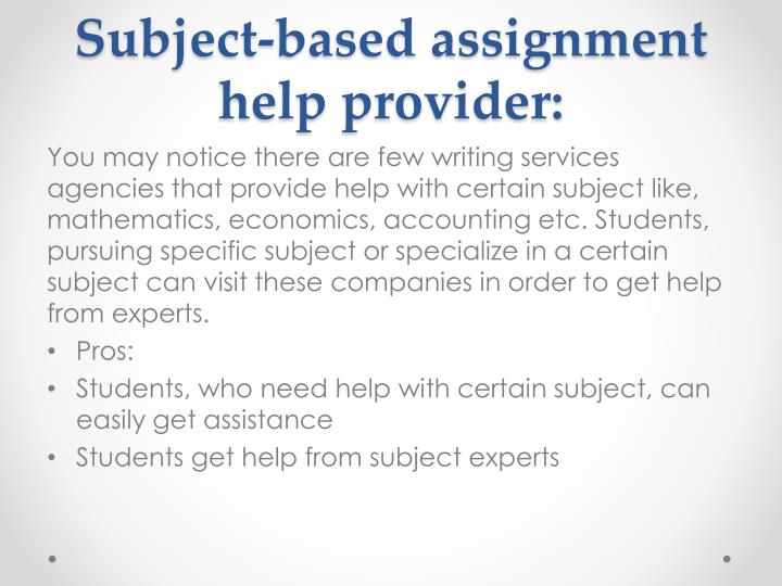 Subject-based assignment help provider: