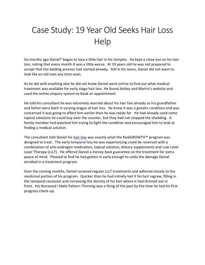 Case Study: 19 Year Old Seeks Hair Loss