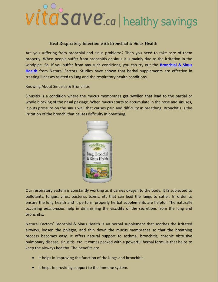 Heal Respiratory Infection with Bronchial & Sinus Health
