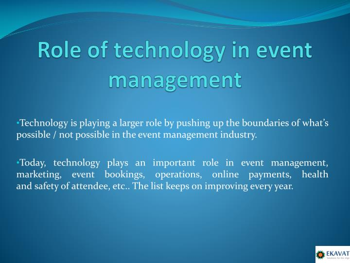 Role of t echnology in event management