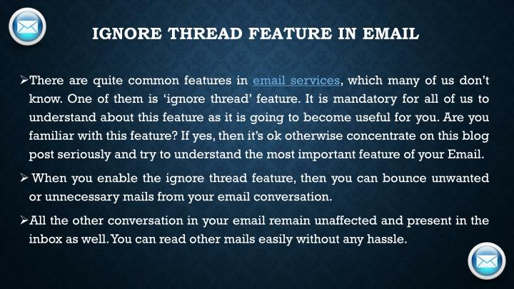 Ignore thread feature in Email