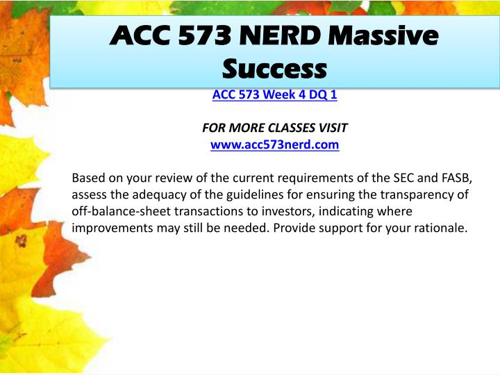 ACC 573 NERD Massive Success
