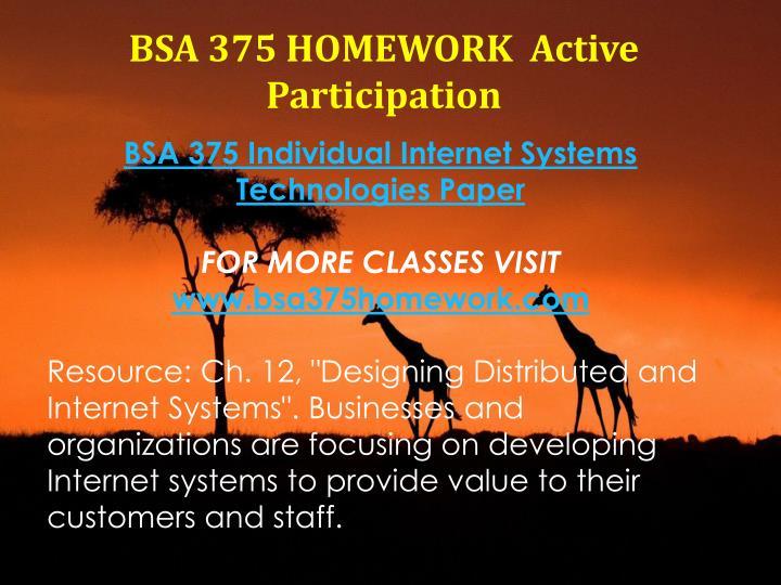 BSA 375 HOMEWORK