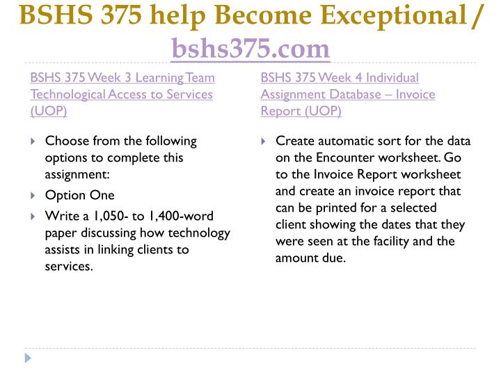 Bshs 375 help become exceptional bshs375 com2