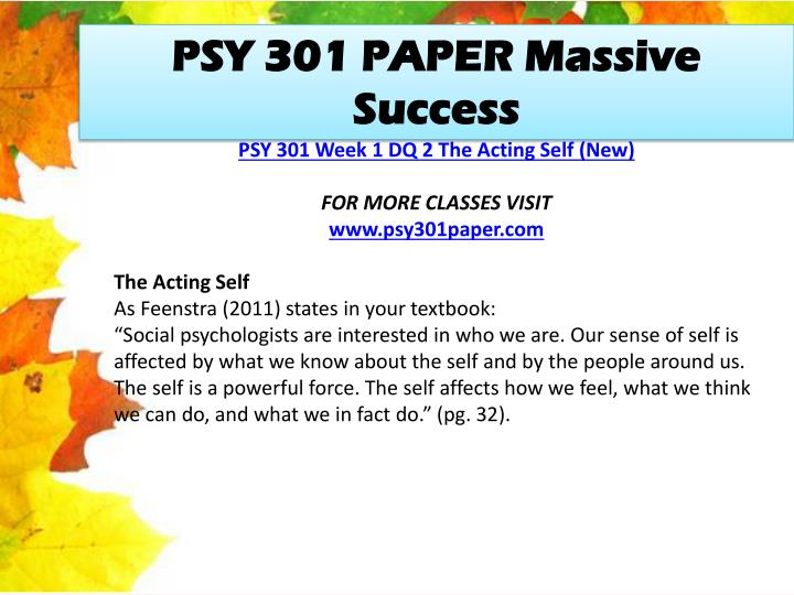 PSY 301 PAPER Massive Success