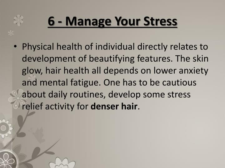 6 - Manage Your Stress