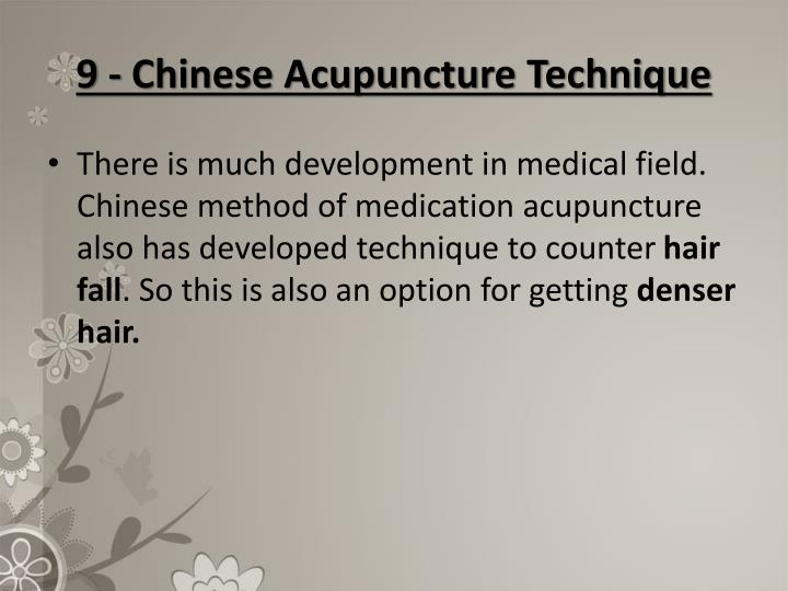 9 - Chinese Acupuncture Technique