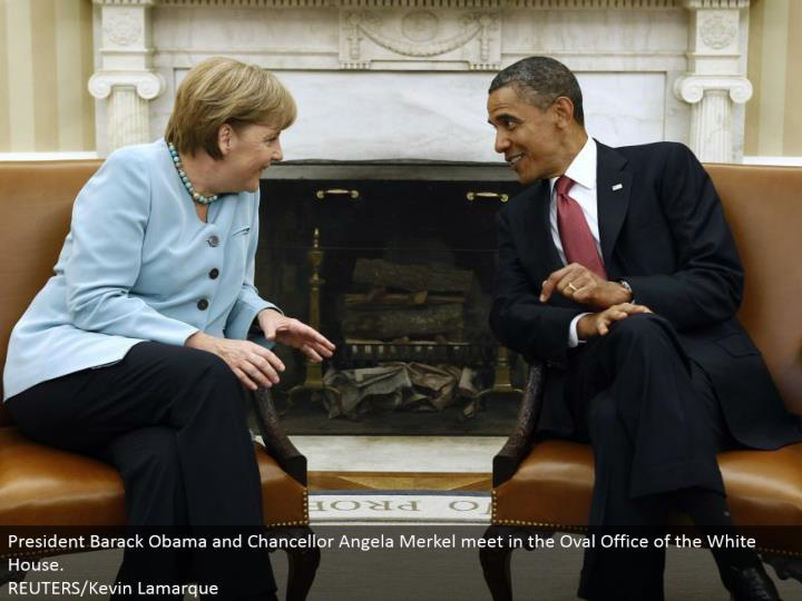 President Barack Obama and Chancellor Angela Merkel meet in the Oval Office of the White House. REUTERS/Kevin Lamarque
