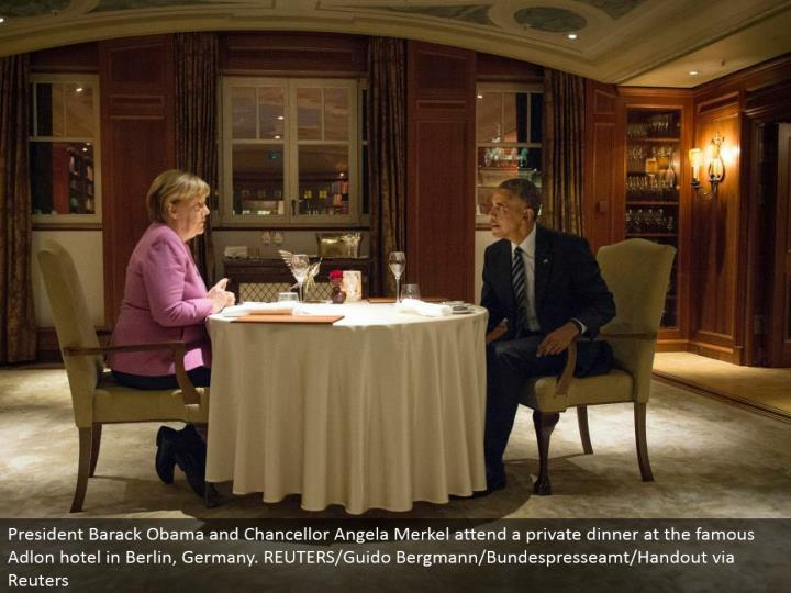 President Barack Obama and Chancellor Angela Merkel go to a private supper at the celebrated Adlon lodging in Berlin, Germany. REUTERS/Guido Bergmann/Bundespresseamt/Handout by means of Reuters