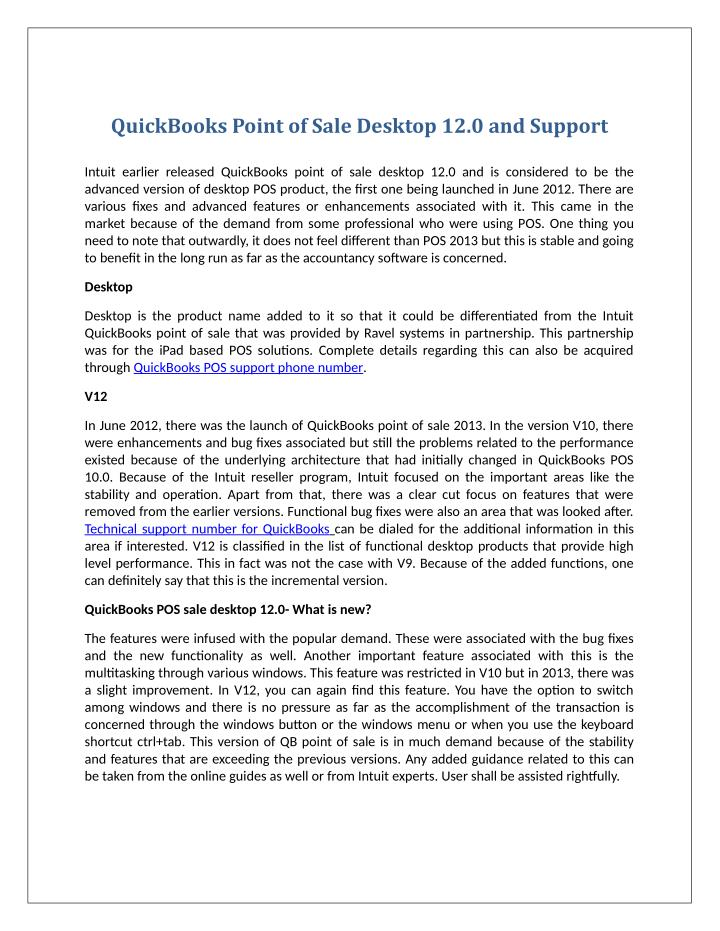 QuickBooks Point of Sale Desktop 12.0 and Support